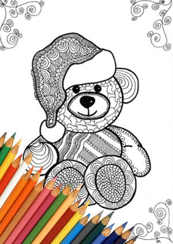 Orsetto di natale pagina da colorare stampabile disegno - Orsacchiotto da colorare in ...