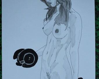"drawing of nude female erotic ""Bodybuilder"""