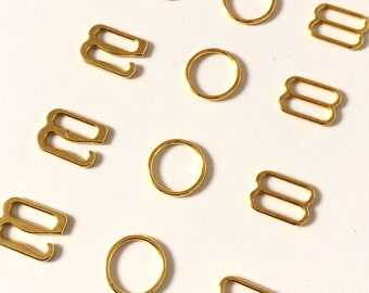 "10mm (3/8"") Gold Metal Sliders / Rings / Hooks for Bra Strap Camisole Making"