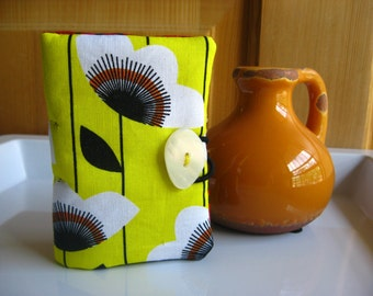 Tea Bag Wallet-White Poppies on Sunny Yellow, Garden of White Poppies Teabag Wallet, Poppies on Yellow Teabag Holder, Bus Credit Card Holder