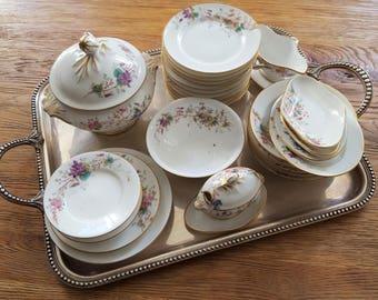 Paris decor porcelain doll's tea party set floral 28 pieces - 20933