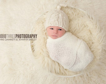 Off White Stretch Knit Wrap Newborn Photography Prop