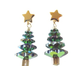 Crystal Christmas Tree Earrings - CLEARANCE 25% OFF