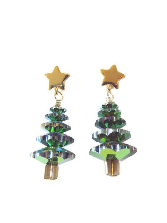 crystal christmas tree earrings clearance 25 off