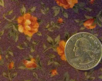 Purple Calico Quilt Fabric With Yellow Flowers End Of Bolt - 1 Yard