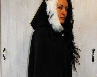 Hooded Cape with Queen White Fur, Black Hooded Cloak