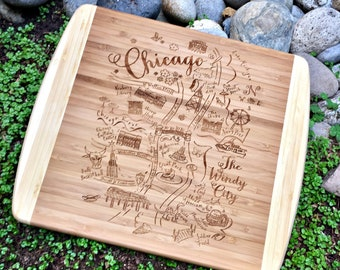 Chicago Summer Map Small Bamboo Cheese Board