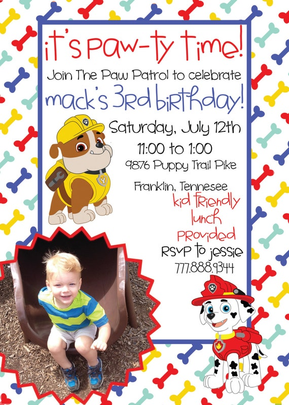 graphic relating to Paw Patrol Printable Invitations identified as paw patrol printable invites -