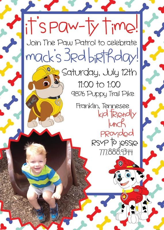 Paw Patrol Birthday Printable Invitation