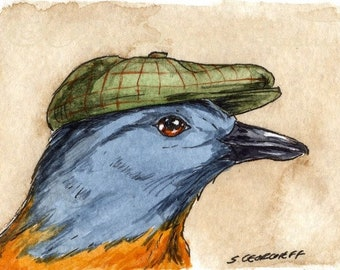 The Passenger Pigeon ~~ No 25  of 100 series- ~ signed watercolor print