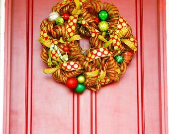 Diy kit create your own snowflake string art do it diy craft kit create your own wreath red and lime green deco mesh christmas solutioingenieria Choice Image