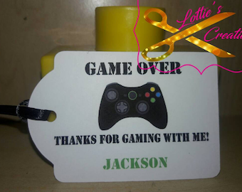 Set of 12 Personalized Video Game favor tags, Video Game thank you tags, Video Game  gift tags, Video Game thank you card, Video Game Party