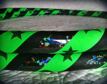Verde Lunar Eclipse Dance & Exercise Hula Hoop COLLAPSIBLE or Push Button - neon green black stars and moons