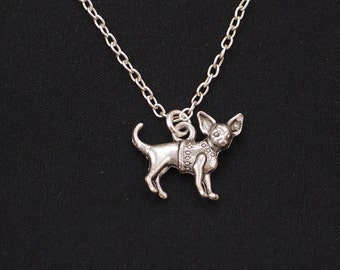 chihuahua necklace, sterling silver filled, silver dog charm on silver chain, doggy jewelry, gift for kid,dog pendant, small dog pendant