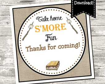 Take Home S'More Fun Birthday Party I Do BBQ Square Tag Digital Printable INSTANT DOWNLOAD
