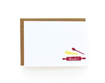Letterpress Thank You Notes, Cooking - set of 8