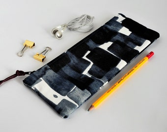 Case Black Abstract | Black Grey White Pouch | Gadget Pouch | School Pouch Black | School Case Abstract | Pouch Cotton Black | Pouch Cotton Grey