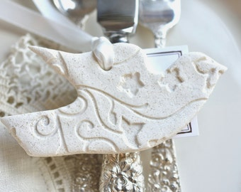 Wholesale Imprinted Dove Salt Dough Ornaments Set of 6 Wedding Napkin Ring / Baptism