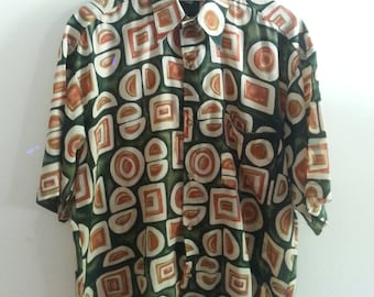 Mens Vintage Patterned Button Down Shirt
