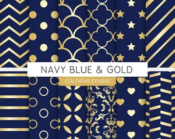 Navy Blue & Gold digital paper, gold, gold, navy blue, stripes, damask, wedding, scrapbook papers (Instant Download)