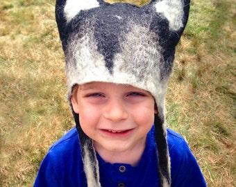 Kid's Hand Felted Wolf Cub Hat, warm Winter animal hat, children's stocking filler gift husky hat