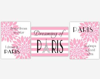 Paris Girl Nursery Wall Art Pink Dahlia Mum Flower Burst Eiffel Tower Modern Floral Wall Decor Paris France Wall Decor CHOOSE COLORS