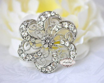 Rhinestone Brooch Embellishment - Flatback - Rhinestone Broach - Brooch Bouquet - Supply - Wedding Jewelry Supply - RD242