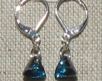 Swarovski Bermuda Blue Triangle Earrings