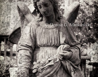 Vintage Mourning Handless Angel ~ Dark Angel Photography Print ~ Gothic Decor ~ Cemetery Angel Photography Print ~ Fine Art Photography