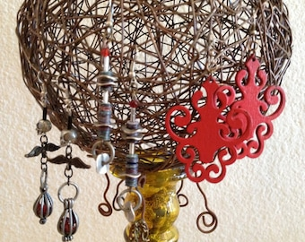 Jewelry tree Stand - ON SALE - Decorative Earring Holder - Unique and stylish - Copper and Glass - Upcycled Found Objects - OOAK