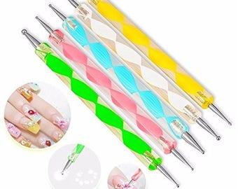 Set 5 PCS two way Dotting Pen Marbleizing Tools Kits Nail Art Dot Paint Design