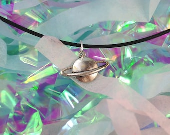 Planet Necklace Saturn Choker / Saturn Necklace, Pastel Goth Clothing, Planet Choker, 90s Grunge Choker, Gifts Under 5, Gifts for Her