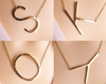 large initial letter necklace, oversized big capital letter alphabet personalized necklace jewelry, gold sideways letter necklace,gift ideas