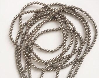 3mm Pyrite round beads FULL STRAND