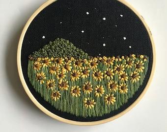 Night Sunflower Field