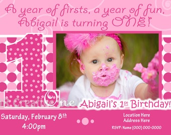 1st birthday Girl invite 1st Birthday Girl invitation Everything One Girl invite Everything One birthday party 1 Girl baby Pink invite dots