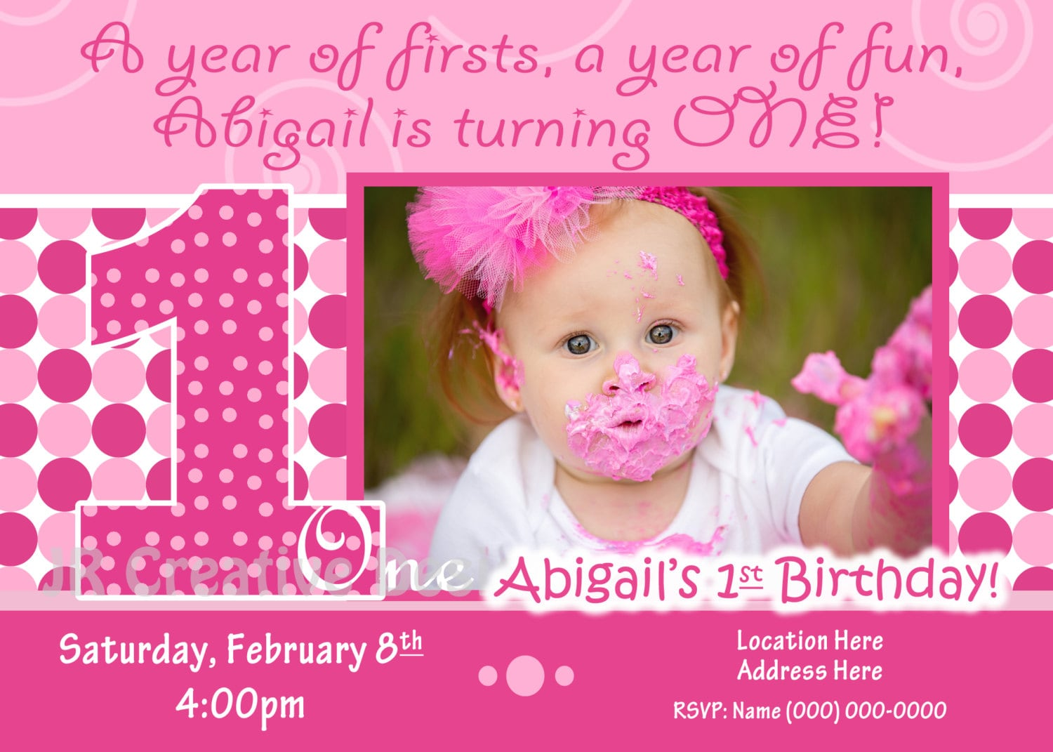1st birthday girl invite 1st birthday girl invitation zoom stopboris Image collections