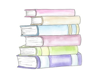 Watercolor Stack of Books Clipart // Planner Clipart // School Clip Art