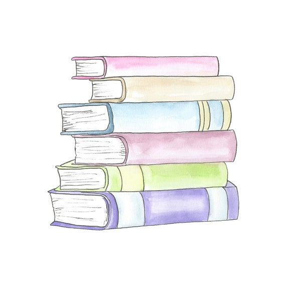 Watercolor Stack of Books Clipart // Planner Clipart // School
