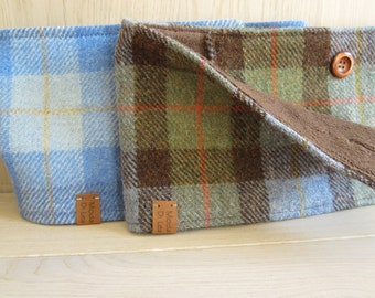 Harris Tweed neckwarmer, wool  scarf  - for HIM and HER