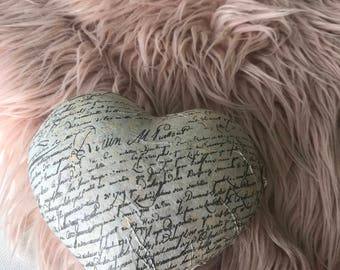 decorative scripted heart / love letter heart/ decorative shabby chic heart