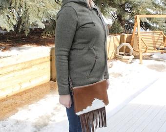 Handmade Leather Crossbody Purse/ Cowhide Fringe Crossbody/ Leather bag/ Leather Purse/ Crossbody Leather Shoulder Bag/ Western Style/ Women