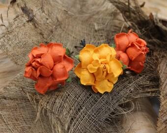 3 Orange Roses, Mulberry Paper Flower Hair Pins , Bridal Hair Pins, Hair Bobby Pins,U pins,Prom,Bridal Hair Accessories (FL335)