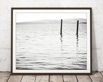 "Minimal ocean print - water ripples photograph - black white zen decor - modern grey wall art - nautical ocean print ""Passage"""