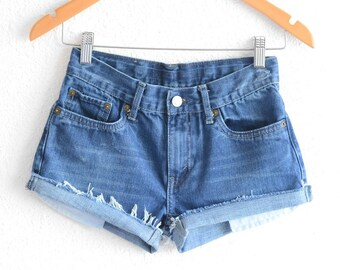 Levis High Waisted Shorts Distressed Levi Shorts Vintage Levi High Waisted Jean Shorts High Waist Shorts Denim Cutoffs xs Levis waist 26