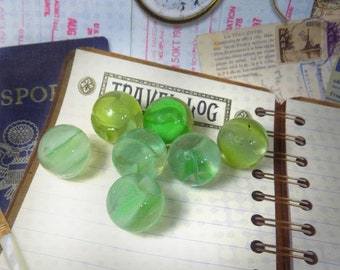 Swirl green Marbles -Clear glass marble , translucent Marbles -jewelry supplies marble - Vintage Marble lot - glass spheres  -# 22