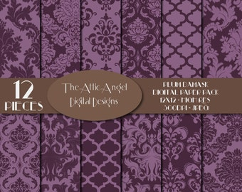 SALE - Purple Plum Damask Digital Paper, Wedding Bridal, Quatrefoil, Fancy Patterned Paper, Flowers, Digital Supplies, Instant Download