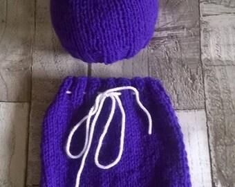 Little Bear hat & shorts set - Merino blend yarn - Purple  - Newborn props ***RTS***