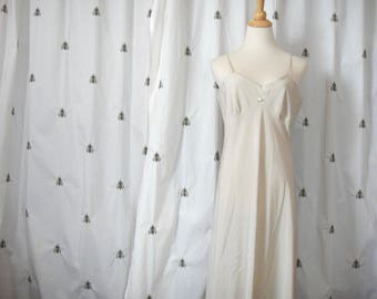 Vintage Slinky Beige Nightgown, Full Length Slip, Pin Up, Flower Appliqué, Long, Size Large