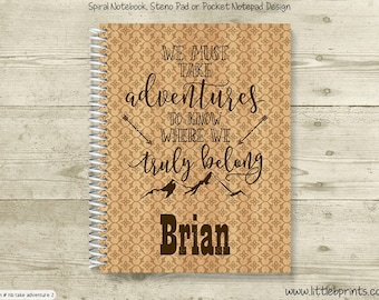 We Must Take Adventures Mountain Arrows Monogram Personalized Spiral Notebook Journal Prayer Journal Diary